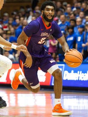 Evansville's K.J. Riley drives during the second half of an NCAA college basketball game against Duke in Durham, N.C., Wednesday, Dec. 20, 2017. Duke beat Evansville 104-40.