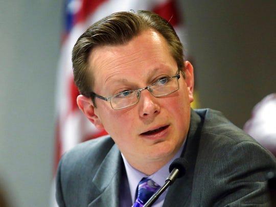 This May 3, 2013 file photo shows Nevada state Sen. Ben Kieckhefer, R-Reno, at the Legislative Building in Carson City.