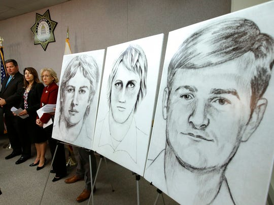 "In this June 15, 2016, file photo, law enforcement drawings of a suspected serial killer believed to have committed at least 12 murders across California in the 1970's and 1980's are displayed at a news conference about the investigation, in Sacramento, Calif. The Sacramento County District Attorney's Office plans to make a 'major announcement"" Wednesday, April 25, 2018, in the case of the elusive serial killer."