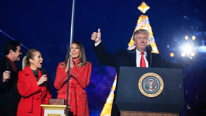 President Trump and first lady Melania at the lighting of the national Christmas tree ceremony in Washington, D.C., on Nov. 30, 2017