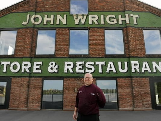 John Wright Restaurant chef-owner Jim Switzenberg stands on the River Room patio overlooking the Susquehanna River. Chris Dunn - Daily Record/Sunday News
