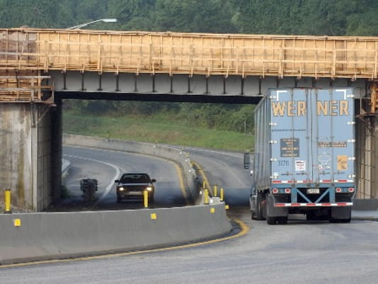 This photo, taken last year, shows the work being done on an I-83 bridge in the area of the Pennsylvania Turnpike.