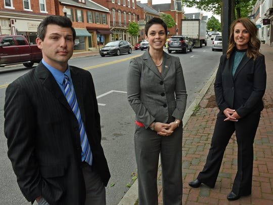Waynesboro Magisterial District Justice candidates met with reporters Thursday, May 4, 2017 in downtown Waynesboro. From left, Travis Carbaugh, Annie Gomez-Shockey and Heather Lowman.