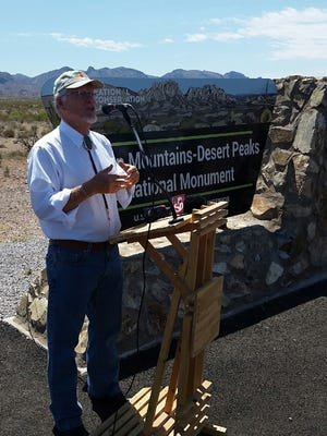 Doña Ana County Commissioner Billy Garrett expresses support Monday for the nearly 500,000-acre OMDP national monument. Monday night was the last chance to submit a public comment to the Interior Department, which is considering possible reductions in acreage to the monument and others across the country.