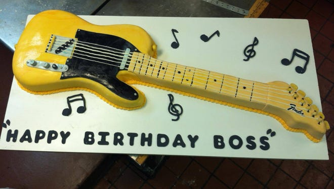 Bruce Springsteen's birthday cake from Bovella's Italian Pastry Shoppe in Westfield before Springsteen and the E street Band ate it.