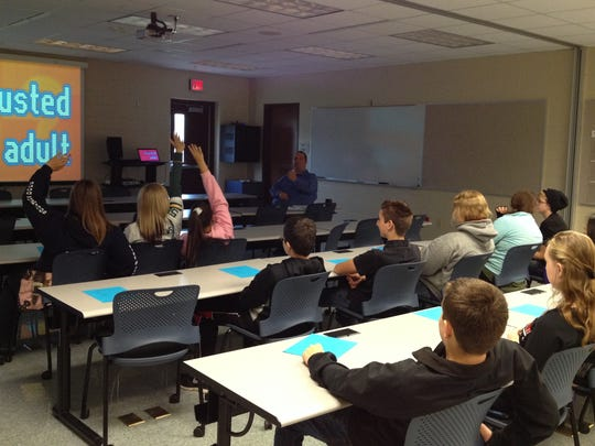 Southern Door and Sevastopol high school students answer questions about Internet safety during a training session Thursday at the Door County Sheriff's Department. The session was led by Sheriff's Investigator Chris Neuville.