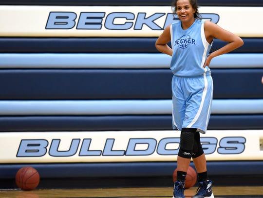 Becker's Alex Johnson smiles during practice Tuesday