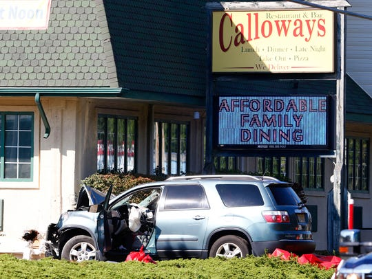A car struck the side of Calloways restaurant on Route