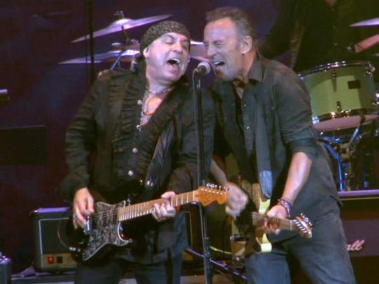 Steven Van Zandt (left) and Bruce Springsteen at the Paramount Theatre in Asbury Park on April 22, 2017.