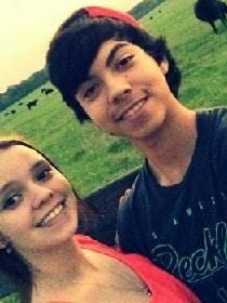 Shelby King with her boyfriend, David Hernandez, who was struck and killed by a train this week.