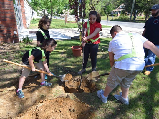 Dane Barse Elementary School safety patrol members Pinar Kangal, Elias Cortez, Juliana Barrera and Leana Inclan planted a tree on school grounds Friday to celebrate Arbor Day.