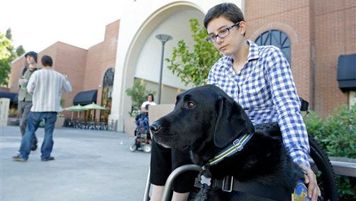 """FILE - In this file photo taken Tuesday, Oct. 8, 2013, Wallis Brozman sits with her service dog, Caspin, outside a shopping mall in Santa Rosa, Calif. On the weekend of May 15, 2015, Nat Geo Wild will air a three-part series called """"Is Your Dog a Genius?""""  It will be part of the network's inaugural """"BarkFest"""" weekend with one show after another dedicated to dogs. Brozman and Caspin will be guests on the show. (AP Photo/Eric Risberg, File)"""