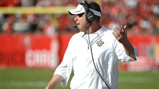 New Orleans Saints head coach Sean Payton gestures during the fourth quarter of an NFL football game against the Tampa Bay Buccaneers.