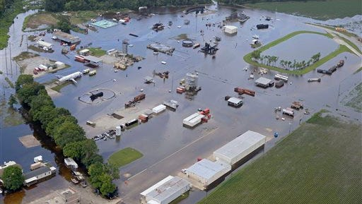 Floodwater covers the site of the LSU Fire and Emergency Training Institute after heavy rains in Baton Rouge.