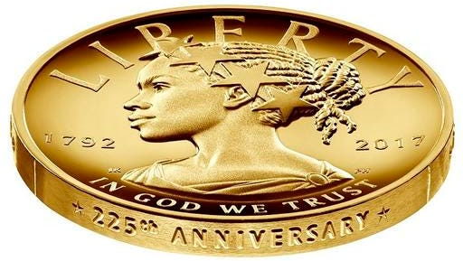 This undated handout image provided by the U.S. Mint shows the design for the 2017 American Liberty 225th Anniversary Gold Coin. The coin is worth $100.
