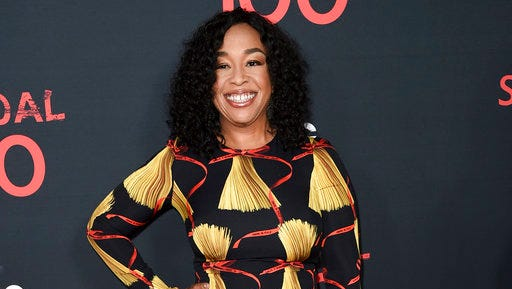"FILE - In this April 8, 2017 file photo, Shonda Rhimes attends the ""Scandal"" 100th Episode Celebration at Fig & Olive in West Hollywood, Calif. Rhimes, the mastermind behind ""Grey's Anatomy"" and other TV hits, is sharing her screenwriting expertise through an online master class."