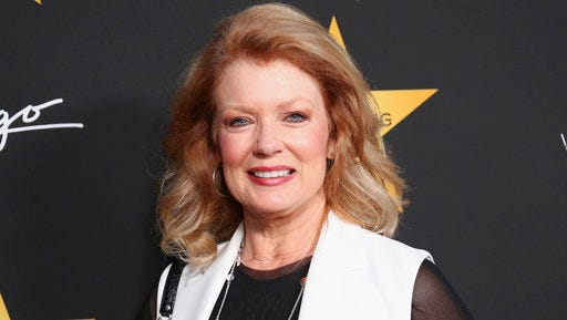 """FILE - In this April 26, 2017 file photo, TV personality Mary Hart arrives at the Wolfgang Puck's Post-Hollywood Walk of Fame Star Ceremony Celebration at Spago in Beverly Hills, Calif. The former """"Entertainment Tonight"""" anchor is receiving a lifetime achievement award at Sunday's Daytime Emmy Awards from the  National Academy of Television Arts & Sciences."""