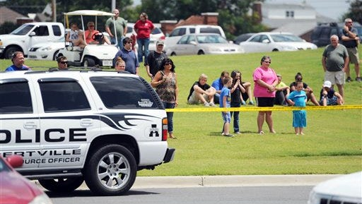 The public was invited to a staging area to watch an active shooter training exercise at Albertville High School in Albertville, Ala. on Monday.