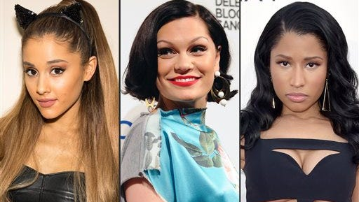 """This combo made from file photos shows, from left, Ariana Grande, Jessie J, and Nicki Minaj. The trio will kick off Sunday?s MTV Video Music Awards with their new song ?Bang Bang."""""""
