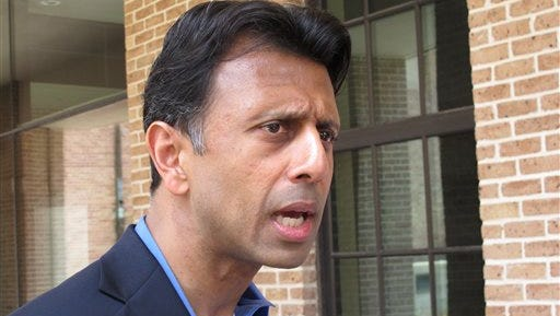 Gov. Bobby Jindal speaks about an injunction request that his lawyer filed Wednesday in Baton Rouge. Jindal is seeking to stop the state's use of testing material aligned with Common Core education standards.
