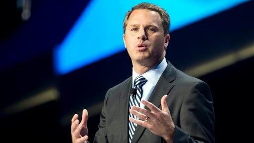 Doug McMillon, President and CEO of Wal-Mart Stores Inc., speaks during the annual Wal-Mart Shareholders meeting in Fayetteville on Friday. The meeting drew about 14,000 people, including its workers from around the globe.