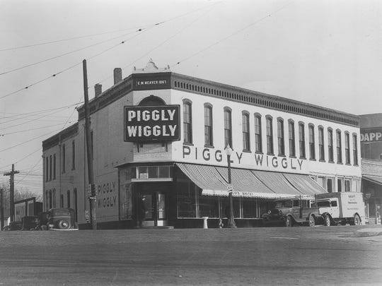 Since it was built in 1867, the E.M. Weaver building at the southeast corner of South and Main streets has anchored a variety of stores in the Five Points commercial district  - so called because the intersection of Main, South and 16th streets creates five corners. This photo dates to the 1930s, when a Piggly Wiggly occupied the building from 1937 to 1943.