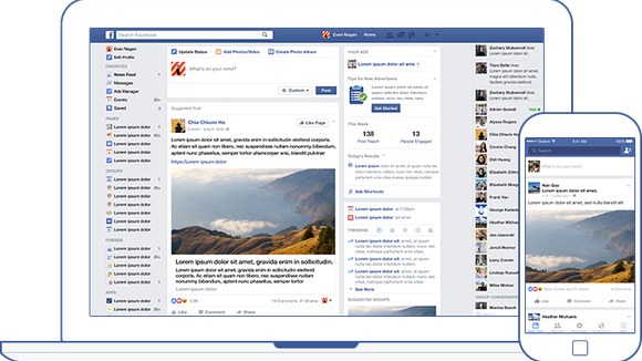 Illustration of Facebook News Feed on both desktop and mobile