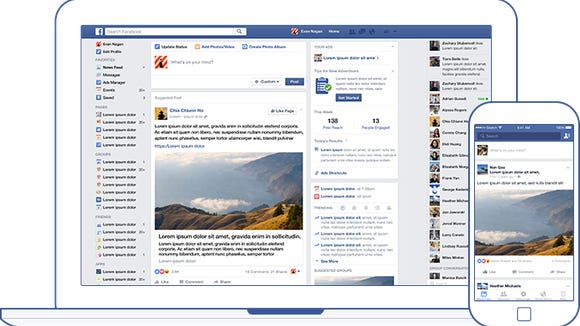 Facebook News Feed on desktop and mobile.