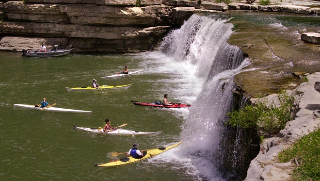 Cataract Falls, near Cagles Mill Lake within Lieber State Recreation Area in southern Indiana.