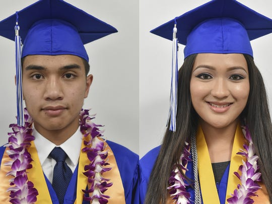 Left, Temple Baptist Christian School Class of 2015 Valedictorian Jordan Limtiaco. Right, Temple Baptist Christian School Class of 2015 Salutatorian Danielle Babauta.