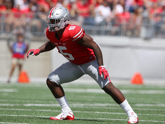 Ohio State linebacker Raekwon McMillan (5) during a play against Bowling Green on Sept. 3, 2016.