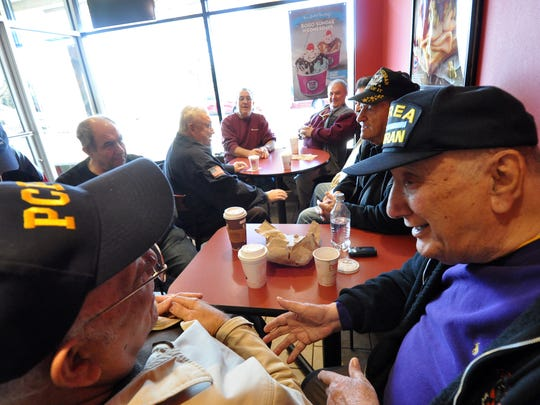 Wayne veterans gathered for talk and coffee at a Valley Road coffee shop to share war stories on Veterans Day. The men can be found there most days.