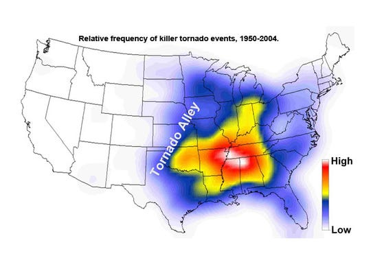 The frequency of killer tornado events is highest in