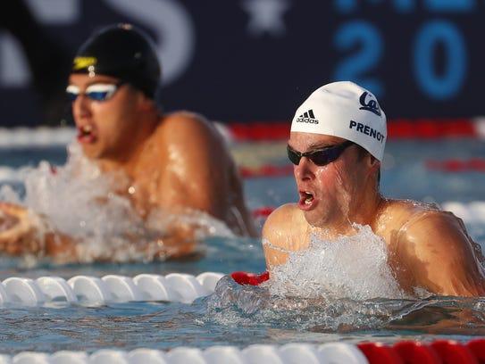 Josh Prenot swims the 200 meter breaststroke at the