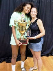 Novi's Abryanna Cannon (left) holds the AAU Nationals