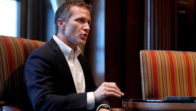 Missouri Gov. Eric Greitens held a rare press conference at his office in the Capitol on Jan. 20, 2018, in Jefferson City, Mo. Greitens discussed having an extramarital affair in 2015 before taking office.