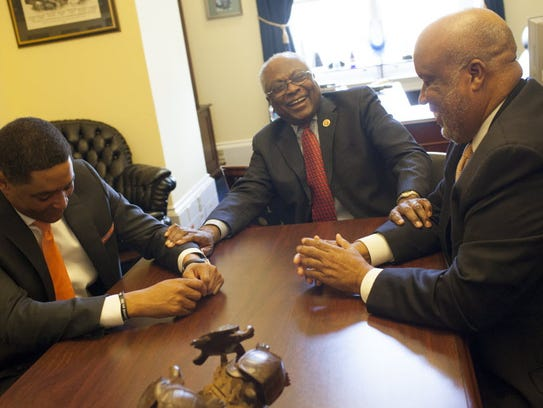 Reps. Cedric Richmond, D-La., from left; James Clyburn, D-S.C.; and Bennie Thompson, D-Miss.,  are the only blacks and the only Democrats in their House delegations. The three have a long-standing tradition of getting together for dinner and talking about issues important to the South.