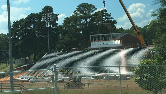 """A picture of the construction at """"The Pit,"""" home of Minden football, from July of this year."""