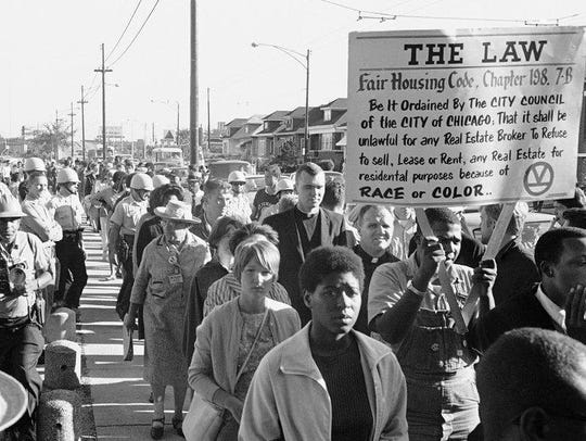 A protest against housing discrimination in Chicago