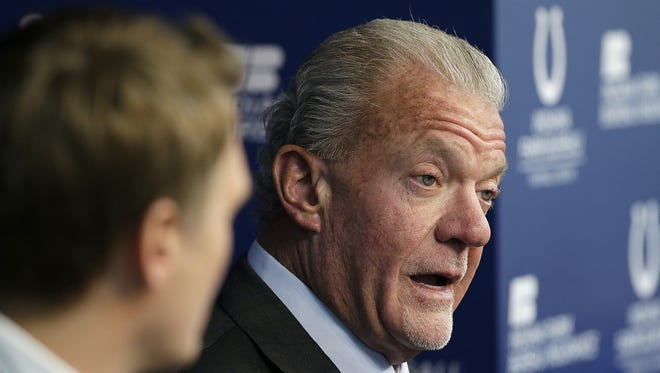 Indianapolis Colts owner & CEO Jim Irsay talks to the media about the firing of head coach Chuck Pagano and the health of Andrew Luck at the Indiana Farm Bureau Football Center Monday, Jan 1, 2018. Colts general manager Chris Ballard,left, listens.