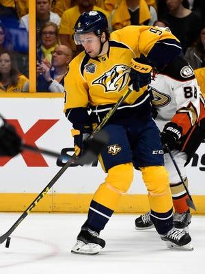 Predators forward Filip Forsberg lost linemate Craig Smith to a lower-body injury Tuesday.