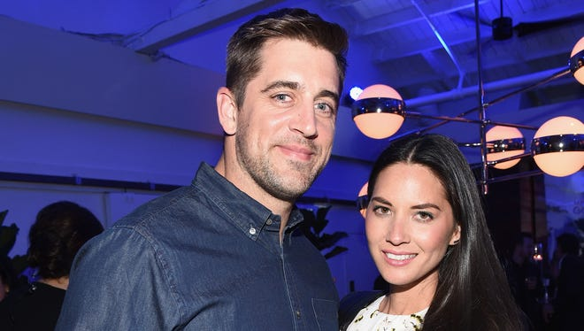 Aaron Rodgers and Olivia Munn at the Samsung Galaxy S 6 edge launch on April 2 in Los Angeles.