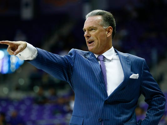 TCU head coach Jamie Dixon directs his team against Yale in the second half of an NCAA college basketball game on Saturday, Dec. 2, 2017, in Fort Worth, Texas. (AP Photo/Ralph Lauer)