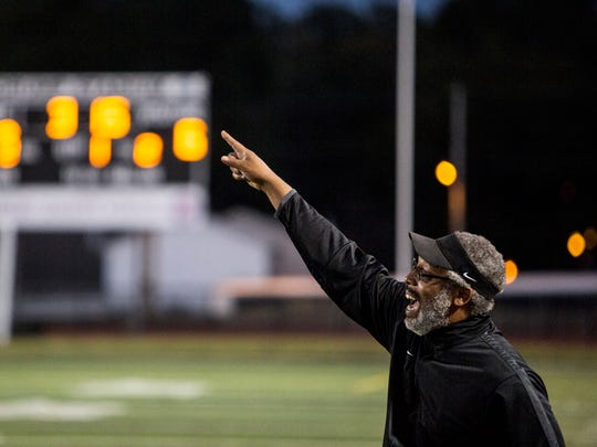 September 14, 2017 - MAHS' coach, Cedric Miller, yells out to his players during Friday night's game at Crump Stadium.