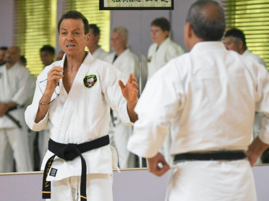 Sensei Des Chaskelson, left, will hold a free self-defense class for women on Friday night.