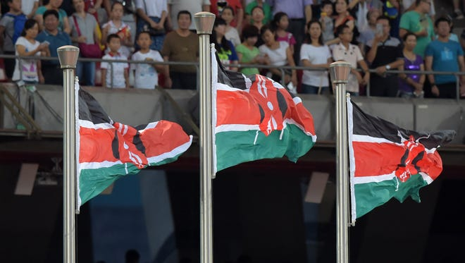 General view of Kenya flags during the IAAF World Championships in Athletics in Beijing in August 2015.