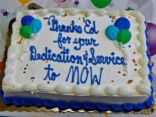 A cake was preseented to help celebrate Ed LeMieux's retirement from the Meals On Wheels program. Members held a luncheon Monday, July 18, 2016 at First Lutheran Church, Chambersburg.