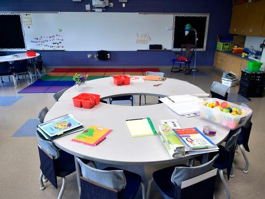 The kindergarten classroom has innovative seating.