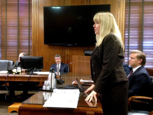 Murfreesboro attorney Michelle Blaylock-Howser speaks Tuesday before Davidson County Chancellor William Young about scheduling a hearing on whether to suspend jailed Rutherford County Sheriff Robert Arnold from his $127,078 salary and duties. The attorney represents 12 Rutherford County residents who seek to remove the sheriff from office through an ouster suit.