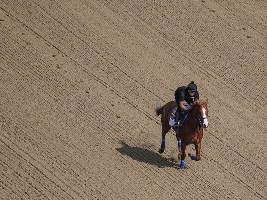 Triple Crown contender Justify gallops in the morning